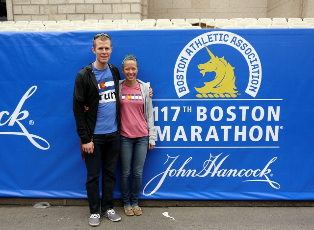 Our marathoners: Sam & Danielle.  Taken on our way to the expo right across the finish line.